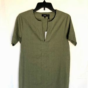 Theory Short Sleeve Shift Green Dress